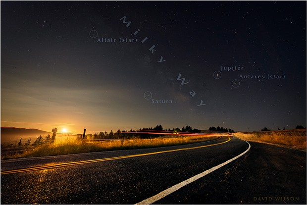 A snapshot of the night from July 18, 2019, shows the planets Saturn and Jupiter guiding the Milky Way across the sky. The moon, waning but still 98 percent full, had just risen in the southeast. - DAVID WILSON