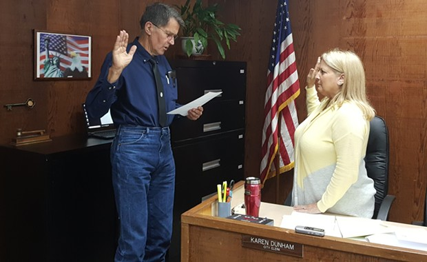 Councilmember Gordon Johnson is sworn in on Tuesday. - CITY OF RIO DELL