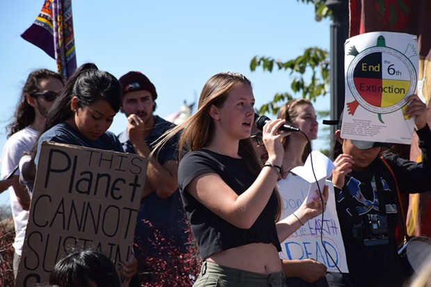 Zoe Reiss, an Arcata High School senior, addressing the crowd at Arcata's Global Climate Strike. - IRIDIAN CASAREZ