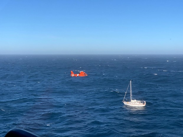 A Coast Guard helicopter comes in for the rescue. - COURTESY OF THE COAST GUARD