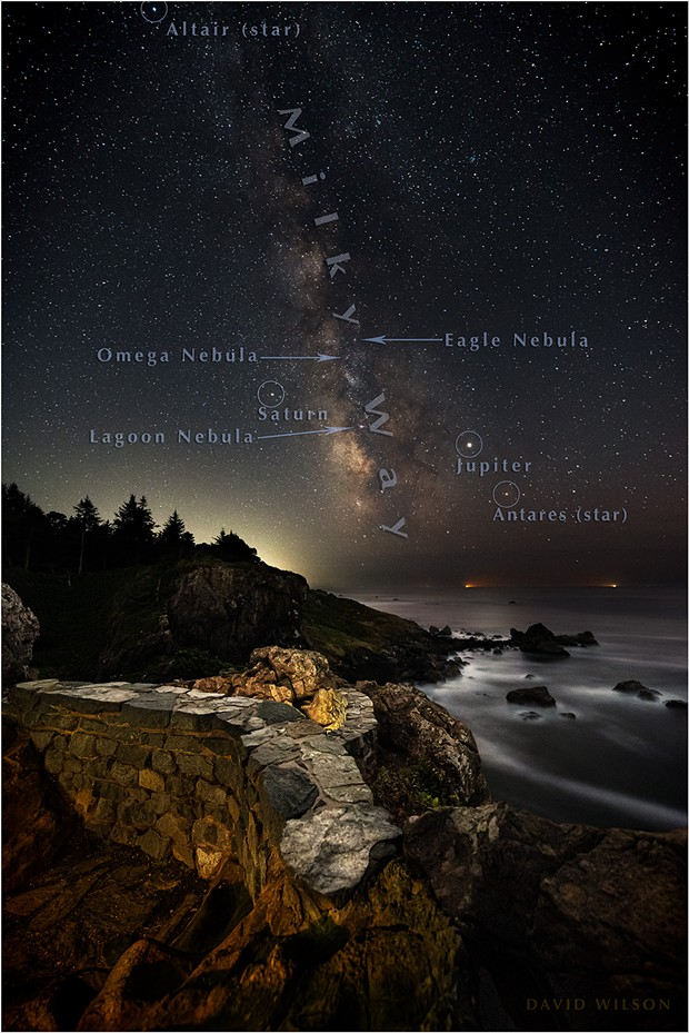 Too numerous to label, stars, nebulae and planets abound in this image with some of the notable objects annotated. Not labeled is the Dark Horse Nebula; its foot is standing on Jupiter, can you spot it? Pacific Ocean, Humboldt County, California. September, 2019. - DAVID WILSON