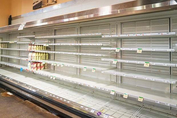 The barren shelves at the Eureka Co-op. - PHOTO BY ZACH LATHOURIS