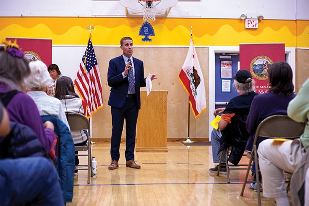 North Coast state Sen. Mike McGuire talks about the PG&E blackout at an Oct. 10 community meeting in Blue Lake. - PHOTO BY SAM LEISHMAN