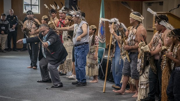 Wiyot Tribal Chair Ted Hernandez joins in the ceremonial Brush Dance. - MARK LARSON