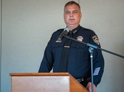 Fortuna Police Chief Willian Dobberstein answered questions from the audience. - MARK MCKENNA