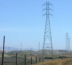 Transmission lines like these carry power into Humboldt County along state routes 36 and 299. - MAIA CHELI