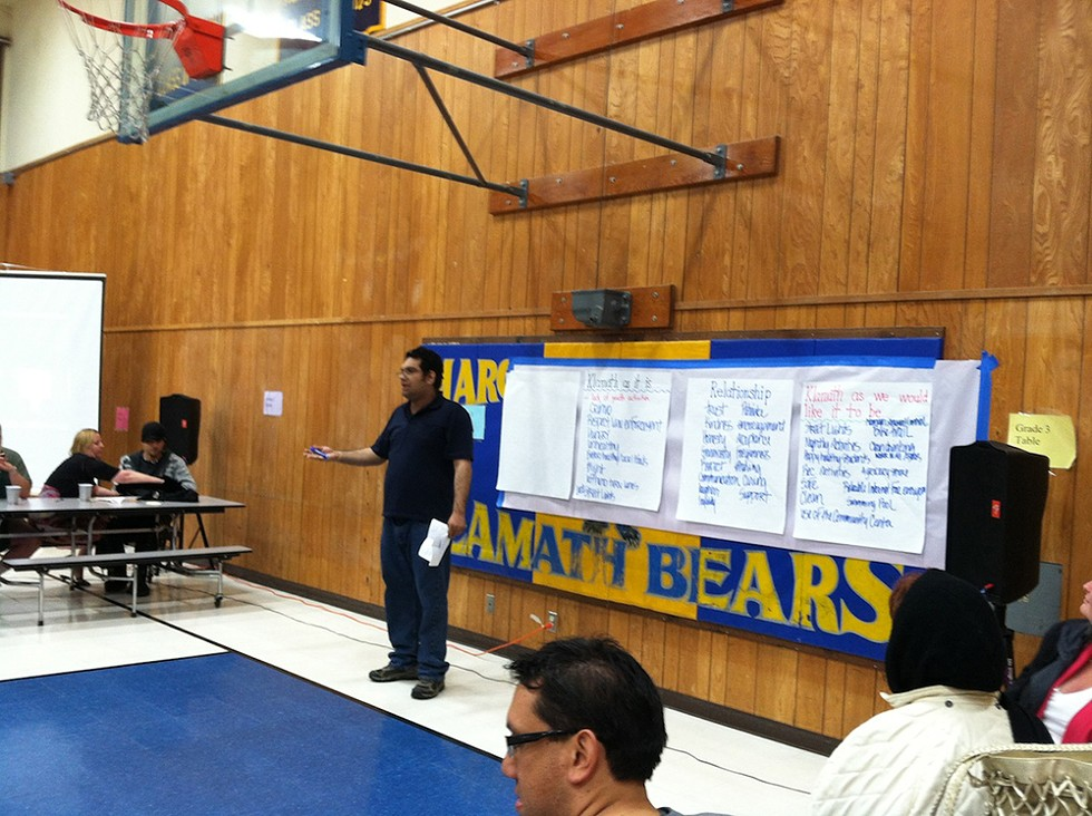Speaking at the Klmath Organizing Committee meeting. - PHOTO BY CLAIRE REYNOLDS