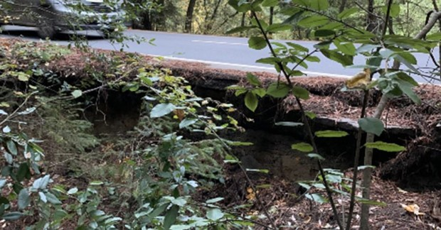 A culvert area in Whitmore Grove west of Redway is failing and undercutting the asphalt. - PHOTO PROVIDED BY ESTELLE FENNELL