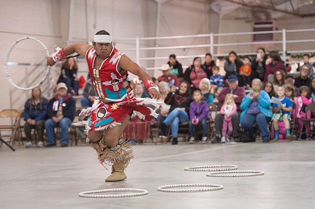 Andrew Romero of Pine Valley demonstrates the Hoop Dance at the 2017 Intertribal Gathering and Elders Dinner. - FILE