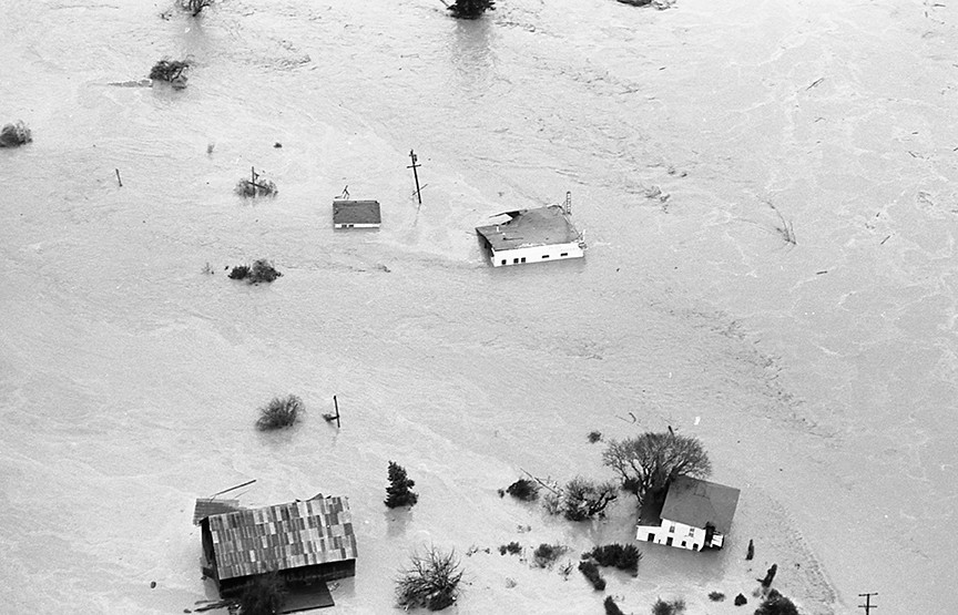 Pete's Grocery sits underwater, along with the rest of Pepperwood, which was washed out when the Eel River crested its banks. - PHOTO COURTESY OF GREG RUMNEY