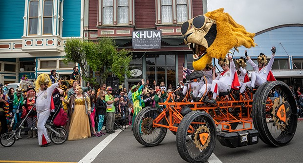 Participants in the Kinetic Grand Championship arrived at the finish line on Ferndale's Main Street. - PHOTO BY MARK LARSON