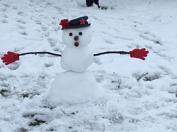 A snowman. In McKinleyville. - THADEUS GREENSON