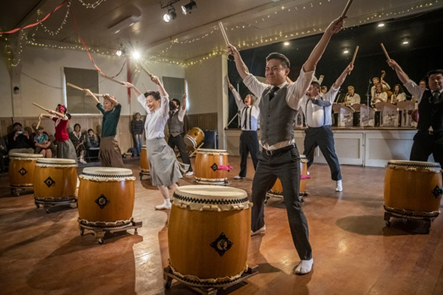 Members of San Jose Taiko brought ensemble Japanese drumming to the music/dance/immersive theater/living history event. - PHOTO BY MARK LARSON