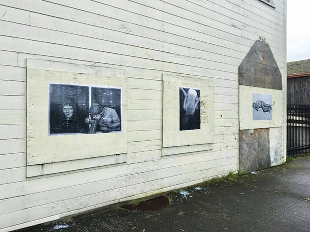 The wheatpasted black and white copies of Weidel's original Heroin Hilton images. - PHOTO BY JESSE WIEDEL