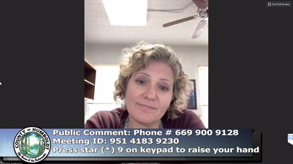 Public Health Director Michelle Stephens - ACCESS HUMBOLDT SCREEN SHOT