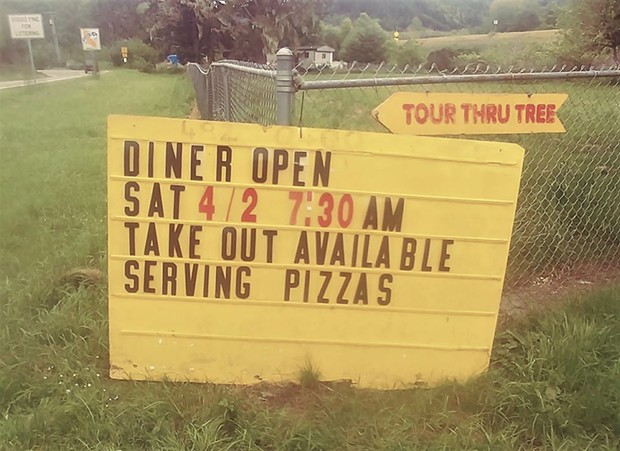 The sign in front of the Log Cabin Diner. - FACEBOOK