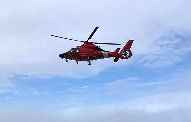 Our Coastie will be doing a flyover at Mad River Community Hospital and St. Joseph Hospital this afternoon to thank their workers. - USCG