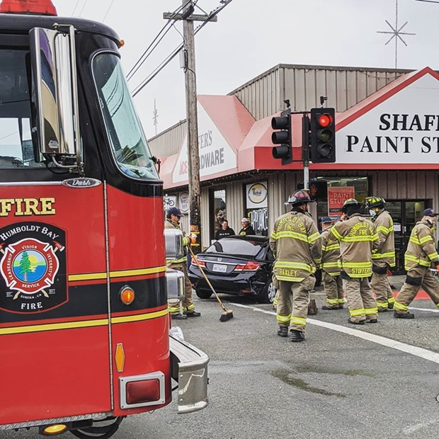 A two-vehicle collision on E Street and Henderson, May 18. - HUMBOLDT BAY FIRE