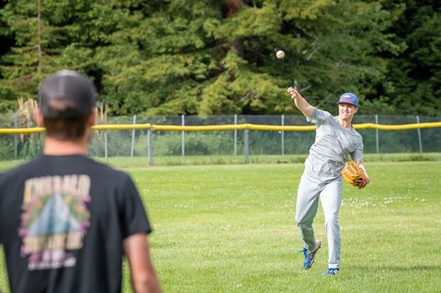 St. Bernard's pitcher Nick Dugan throws the ball during warm ups. - MARK MCKENNA