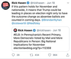 "Screenshots of Tweets from Rick Hansen: ""If this pattern holds for November and nationwide, it means that Trump could be leading in places on election night only to have the outcome change as absentee ballots are counted in coming days. @BrendanNyhan @cstewartiii @Nedfoley,"" ""#ELB: In Pennsylvania's Recent Primary More Democrats Voted by Mail and More Republicans in Person: Big National Implications for November electionlawblog.org/?p-112359."""