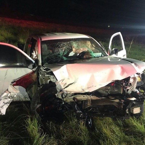 The pickup involved in last night's crash. - ARCATA FIRE PROTECTION DISTRICT