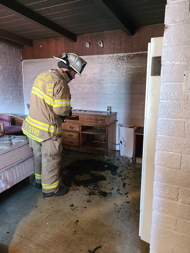Damage at the room at the Flamingo Motel. - HUMBOLDT BAY FIRE