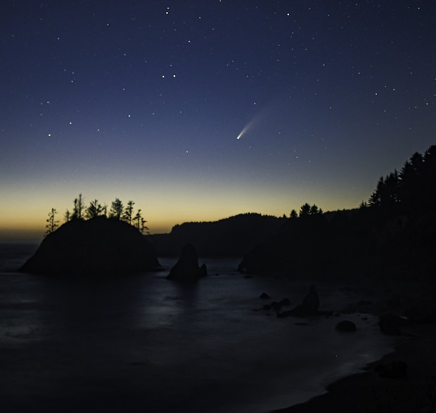 The NEOWISE comet captured above Trinidad Head. - DAVE FERAL