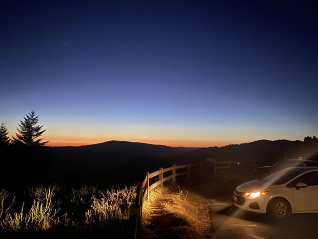 People gathered just after sunset in Berry Summit's Vista Point parking lot to see the NEOWISE comet. - ASHLEY HARRELL