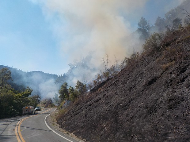 The fire burns near State Route 96 earlier this week. - CALTRANS