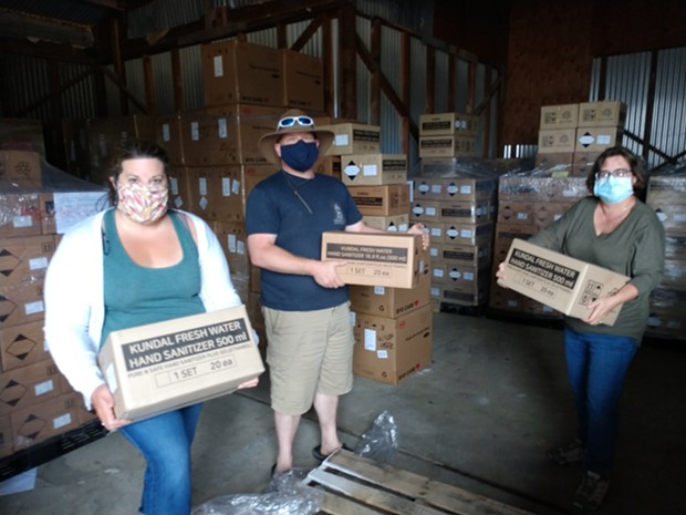 Dianna Rios, executive director of the Fortuna Business Improvement District, Scott Adair, director of the County Office of Economic Development and Susan Seaman, program director at AEDC, are preparing to hand out COVID-19 supplies to local businesses. - SUBMITTED