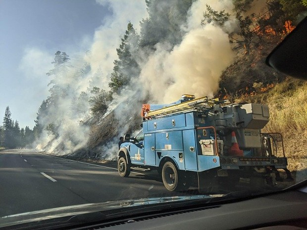 Flames and smoke at the Flat Fire north of Myers Flat. - GARTH EPLING