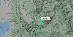 Screenshot from Flightradar shows the aircraft circling the fire.