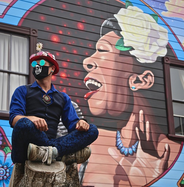 """Blake Reagan and his Best Art Mural-winning """"Diva's Grace."""" - SUBMITTED"""