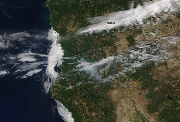 The Red Salmon Complex fire's smoke imaged by NASA's Aqua Satellite. - NASA