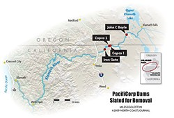 The four Klamath River dams slated for removal. - MILES EGGELSTON