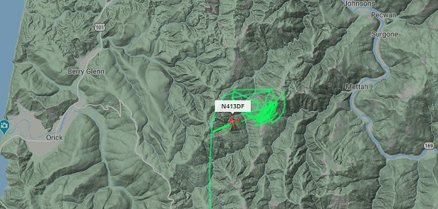 Air attack circling over the Johnson Fire at about 1:30 p.m. - SCREENSHOT FROM FLIGHTRADAR