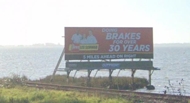 A Google street view of the billboard's original appearance. - GOOGLE MAPS