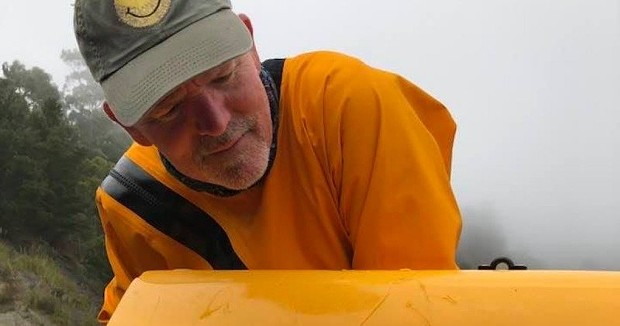 David Alexander and the shark's toothmarks in his kayak.  David Alexander - COURTESY OF DAVID ALEXANDER