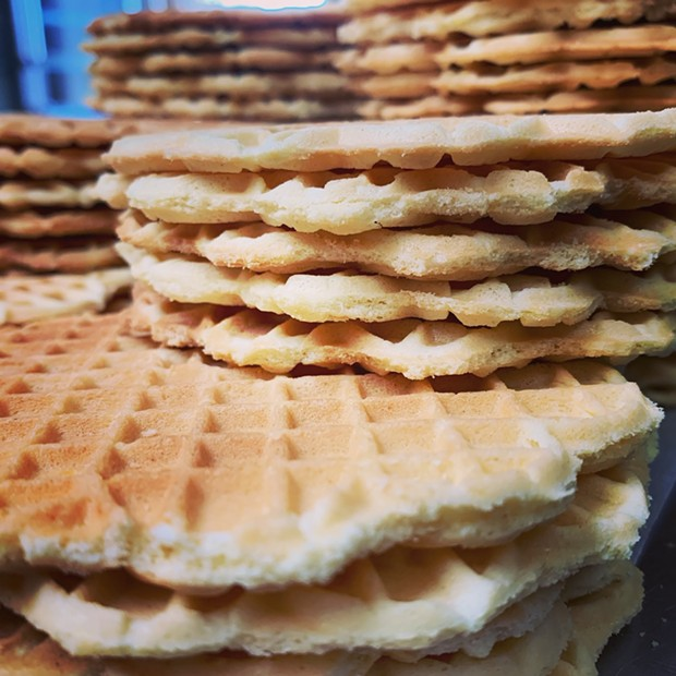 Stacks of crisp pizzelles. - SUBMITTED