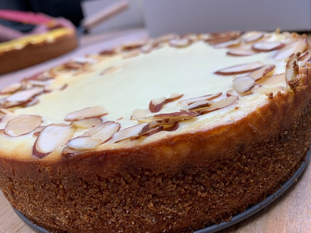 New York cheesecake with slivered almonds. - SUBMITTED