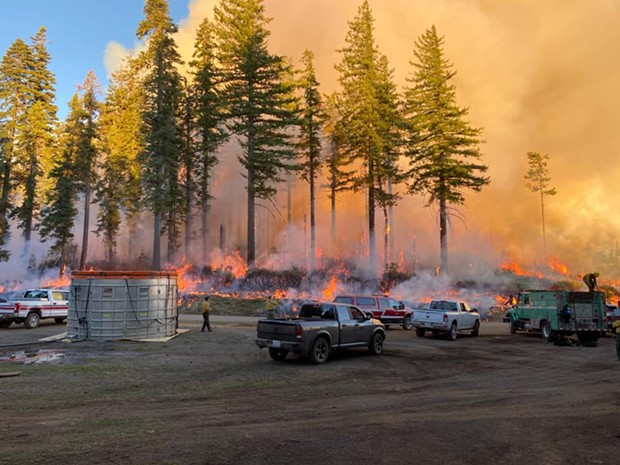 Crews fight the Red Salmon Complex Fire. - WESTER WATER TENDERS/FACEBOOK