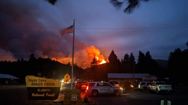 The Slater Fire blazes near the Happy Camp ranger station. - U.S. FOREST SERVICE LAW ENFORCEMENT/FACEBOOK