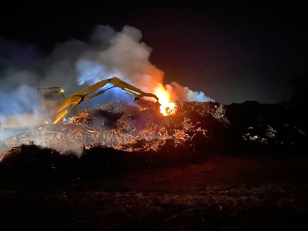 A slash fire in Arcata last night. It is continuing to burn. - AFD