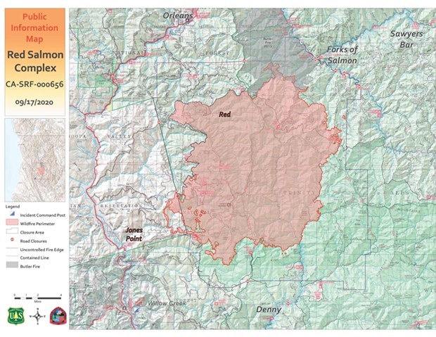 Public Information Map of the Red Salmon Complex as of Sept. 17 - SUBMITTED