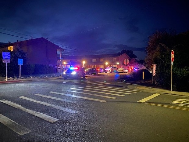 A number of law enforcement officers at the scene last night on School Road and Fischer Avenue in McKinleyville. - DEAN TROUTTE