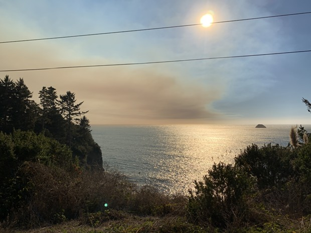 A view of the smoke plume from Scenic Drive in Trinidad. - PHOTO COURTESY OF ALI WELLINGTON