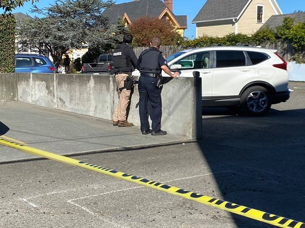 Yellow crime scene tape cordons off an area where a stabbing occurred in the 300 block of I Street in Eureka this afternoon. - MARK MCKENNA
