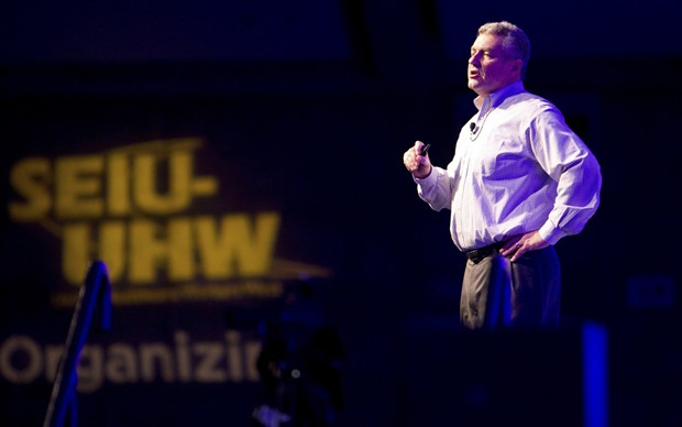 Dave Regan speaks to the SEIU-UHW Leadership Assembly in 2013. He had led the union to take its fights with industry to the voters. - STEVE YEATER, COURTESY OF SEIU-UHW