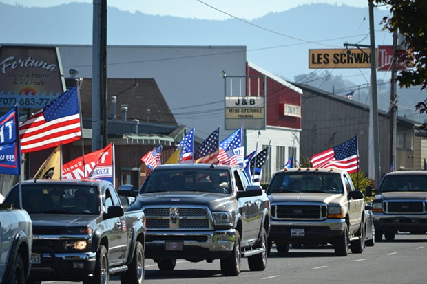 Cars line up in Fortuna. - MELISSA SANDERSON