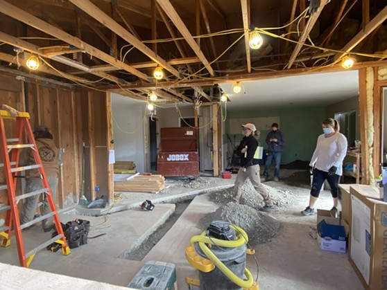 College of the Redwoods students work on the Beland family home. - SUBMITTED